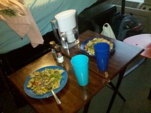 Our makeshift dorm room dining table and delicious meal